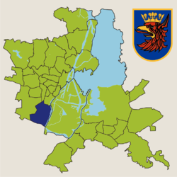 Location of Pomorzany within Szczecin