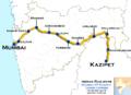 Tadoba Express (Mumbai LTT - Kazipet) route map.png