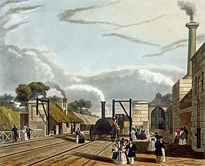 Opening of the Liverpool and Manchester Railway - 1831 colour engraving of Parkside station
