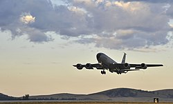 A Boeing KC-135 Stratotanker of the 92nd Air Refuelling Wing departs Fairchild AFB during 2014.