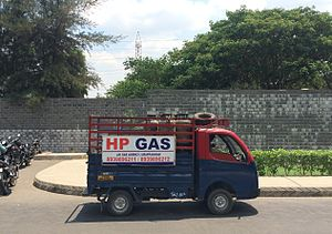 Hindustan Petroleum - HP cooking gas delivery vehicle