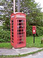 Telephone kiosk and postbox on the corner of Butts Lawn and Meerut Road, Brockenhurst - geograph.org.uk - 172502.jpg