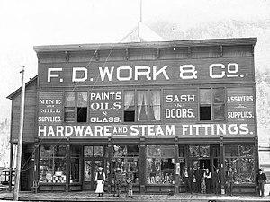 Hardware store - A hardware store in Telluride, Colorado around 1903.