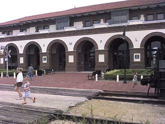 Temple, Texas - Temple Amtrak station originally built as an Atchison, Topeka and Santa Fe Railway depot