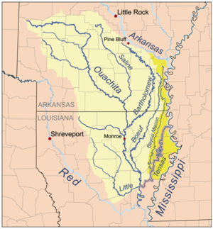 Tensas River - Location of the Tensas River within the Tensas/Ouachita watershed.