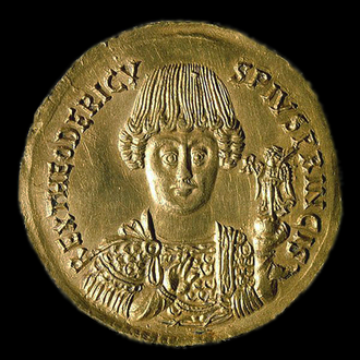 Theoderic the Great - Medallion featuring Theoderic, c. AD 491–501. Note Germanic moustache and hairstyle, and possible elongated skull.