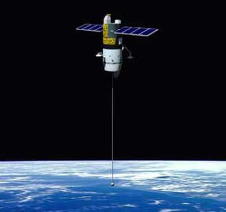 Space tether - Artist's conception of satellite with a tether