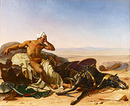 The Arab Lamenting the Death of his Steed - Jean-Baptiste Mauzaisse.jpg