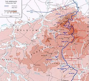 Salient (military) - German-occupied salient in the Ardennes on the eve of the Battle of the Bulge on December 15, 1944