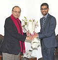 The CEO of Google, Mr. Sundar Pichai meeting the Union Minister for Finance, Corporate Affairs and Information & Broadcasting, Shri Arun Jaitley, in New Delhi on December 16, 2015.jpg