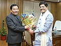 The Chief Minister of Sikkim, Shri Pawan Chamling meeting the Minister of State (Independent Charge) for Power, Coal and New and Renewable Energy, Shri Piyush Goyal, in New Delhi on November 17, 2015.jpg