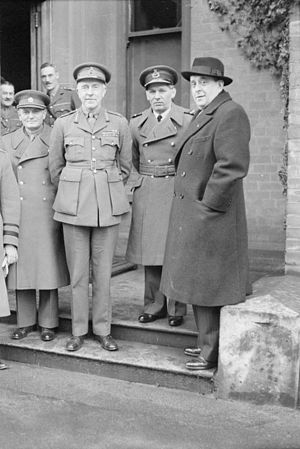 Harold Franklyn - Members of the Czech Government in Exile visiting Northern Ireland. Left to right: Brigadier General Edmund Hill (USA); General Jan Sergěj Ingr, Minister of National Defence and C-in-C of Czechoslovak Forces; Lieutenant General Harold Franklyn, GOC British Troops in Northern Ireland; Air Vice Marshal Karel Janoušek, GOC Czechoslovak Air Force; and Mr Jan Masaryk, Deputy Prime Minister and Foreign Minister of Czechoslovakia.