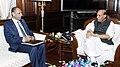 The Governor of Andhra Pradesh and Telangana, Shri E.S.L. Narasimhan calling on the Union Home Minister, Shri Rajnath Singh, in New Delhi on August 20, 2015.jpg