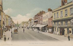 Francis Godolphin Osbourne Stuart - The High Street, Lymington, by Stuart, postcard printed in colour
