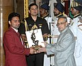 The President, Shri Pranab Mukherjee presenting the Arjuna Award for the year-2015 to Naib Subedar Sandeep Kumar for Archery, in a glittering ceremony, at Rashtrapati Bhavan, in New Delhi on August 29, 2015.jpg