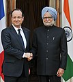 The Prime Minister, Dr. Manmohan Singh meeting the President of the Republic of France, Mr. Francois Hollande, in New Delhi on February 14, 2013.jpg