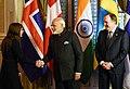The Prime Minister, Shri Narendra Modi, the Prime Minister of Sweden, Mr. Stefan Lofven and the Prime Minister of Iceland, Ms. Katrín Jakobsdottir at India-Nordic Summit, in Stockholm, Sweden on April 17, 2018.JPG