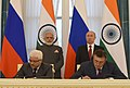 The Prime Minister, Shri Narendra Modi and the President of Russian Federation, Mr. Vladimir Putin witnessing the signing of agreements, at Konstantin Palace, in St. Petersburg, Russia on June 01, 2017.jpg