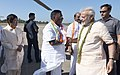 The Prime Minister, Shri Narendra Modi being seen off by the Lieutenant Governor of Puducherry, Dr. Kiran Bedi and the Chief Minister of Puducherry, Shri V. Narayanasamy, on his departure from Puducherry,.jpg
