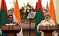 The Prime Minister, Shri Narendra Modi delivering his statement to the media at the joint media briefing with the President of the Republic of Maldives, Mr. Abdulla Yameen Abdul Gayoo, in New Delhi on April 11, 2016.jpg