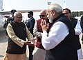 The Prime Minister, Shri Narendra Modi emplanes from Lucknow after inaugurating the UP Investors Summit 2018, on February 21, 2018. The Governor of Uttar Pradesh, Shri Ram Naik is also seen.jpg