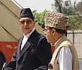The Prime Minister of Nepal, Shri Girija Prasad Koirala being seen off by the Union Minister of Water Resources, Prof. Saif-ud-din Soz at Indira Gandhi International Airport in New Delhi on April 06, 2007.jpg