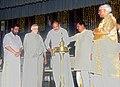 "The Vice President, Shri M. Venkaiah Naidu lighting the lamp to inaugurate the revival ceremony of ancient Dance Drama ""Ashtapadiyattam"" which is ""Gita Govindam"", in Guruvayur, Kerala.JPG"