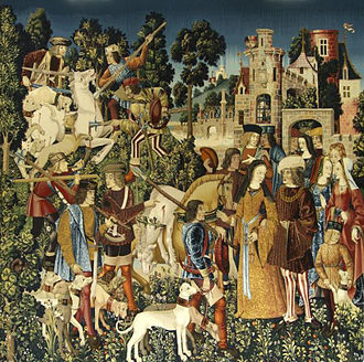 The Hunt of the Unicorn - Tapestry 6:The Unicorn is Killed and Brought to the Castle