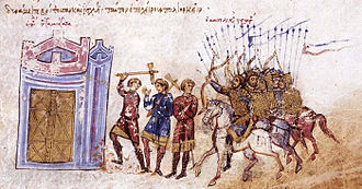 Karbeas - Depiction of the Byzantine attack on Samosata in 859, from the Madrid Skylitzes