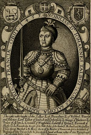 "John Talbot, 1st Earl of Shrewsbury - ""The right noble knight John Talbot Earl of Shrewsbury"". Imaginary engraving made by Thomas Cecill c.1625-32, British Museum, Cat.no. 1862,1011.234"