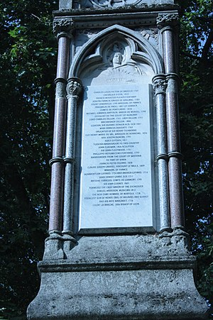 Pasquale Paoli - Paoli's name listed on the south face of the Burdett Coutts memorial