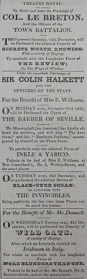 Black-Eyed Susan - Black-Eyed Susan on the bill of the Theatre Royal, Jersey, in December 1829