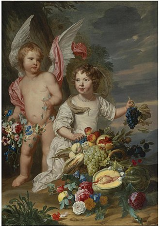 Alexander Coosemans - Image: Theodoor van Thulden and Alexander Coosemans Double Portrait of a girl and a girl as Cupid and Ceres next to a Stil life of fruits and flowers