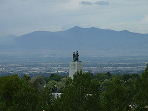 This Is the Place Heritage Park - View of the Salt Lake Valley from the original 1921 monument