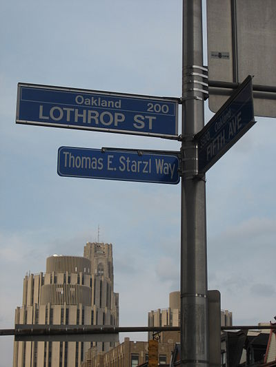 Thomas E. Starzl Way on the campus of the University of Pittsburgh ThomasEStarzlWayPittsburgh.jpg