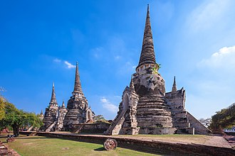 Ayutthaya Kingdom - Three pagodas of Wat Phra Si Sanphet which house the remains of King Borommatrailokanat, King Borommarachathirat III and King Ramathibodi II