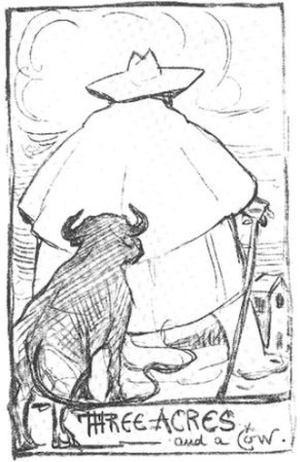 "G. K. Chesterton - Self-portrait of Chesterton based on the distributist slogan ""Three acres and a cow"""