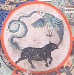 Three poisons - The three poisons are represented in the center of the wheel of life as a pig, a bird, and a snake.