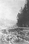 Three women crossing a bridge over the Nisqually River, ca 1901 (SARVANT 99).jpeg