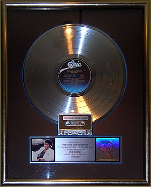 Thriller (Michael Jackson album) - Thriller platinum record on display at the Hard Rock Cafe, Hollywood in Universal City, California.