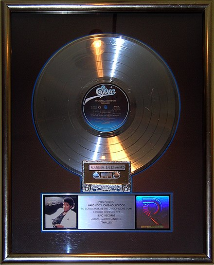 Platinum record for Michael Jackson's Thriller (1982), the best-selling album of all time Thriller platinum record, Hard Rock Cafe Hollywood.JPG