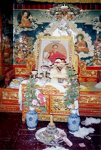 Dalai Lama - Throne awaiting Dalai Lama's return. Summer residence of 14th Dalai Lama, Nechung, Tibet.