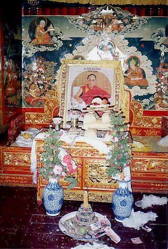 Dalai Lama - Throne awaiting Dalai Lama's return. Summer residence of 14th Dalai Lama, Nechung, Tibet.