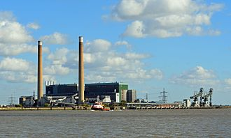 Tilbury power stations - Decommissioned Tilbury B power station seen from Gravesend