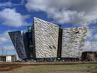 Titanic Belfast - View of the main entrance and sign to Titanic Belfast