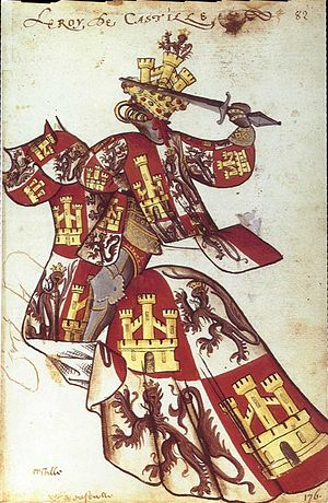 Equestrian heraldic of King John II of Castile in the Equestrian armorial of the Golden Fleece 1433-1435. Collection Bibliotheque de l'Arsenal. Toison d'Or le Roi de-Castille.jpg
