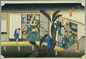 Akasaka-juku (Tōkaidō) - Akasaka-juku in the 1830s, as depicted by Hiroshige in the Hoeido edition of  The Fifty-three Stations of the Tōkaidō (1831–1834)