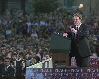 Blairism - Blair speaks in support of the Northern Ireland peace process in Armagh in September 1998