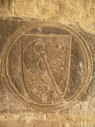 Order of the Hatchet - Emblem of the Order of the Hatchet in the stone of the cloister of the Cathedral of Tortosa, (c. 14th c.).