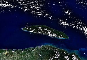 Tortuga (Haiti) - Tortuga seen from space